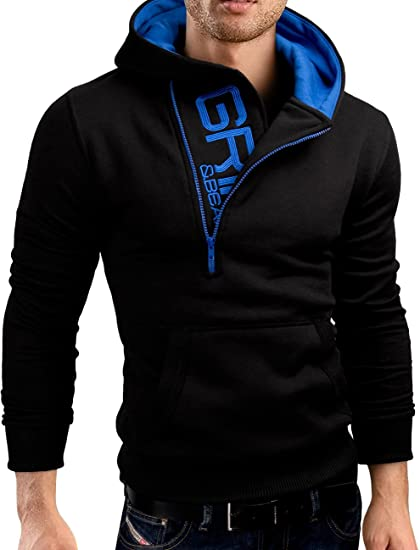 52d24c515aecb6 Grin&Bear Slim Fit half zip Hoodie Jacket embroidered Sweatshirt, black, S,  GEC401