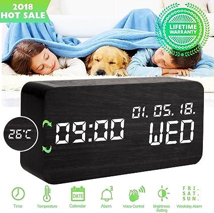 Despertadores Digitales Reloj Despertador Digital Madera Reloj de ...