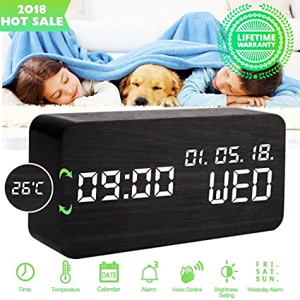 Despertadores Digitales Reloj Despertador Digital Madera Reloj de Despertador Electrico Led Pilas Mesa con Luz Usb