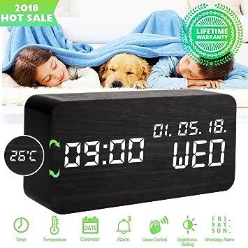 Despertadores Digitales Reloj Despertador Digital Madera Reloj de Despertador Electrico Led Pilas Mesa con Luz Usb Cargador 3 Niveles Brillo 3 Alarmas ...