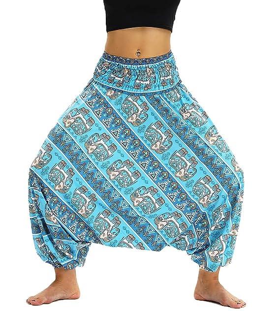 Nuofengkudu Mujer Pantalones Hippies Cintura Alta Bohemios Patrones Sueltos Tailandeses Casual Yoga Pants Playa Azul EleVentiladorte A: Amazon.es: Ropa y ...