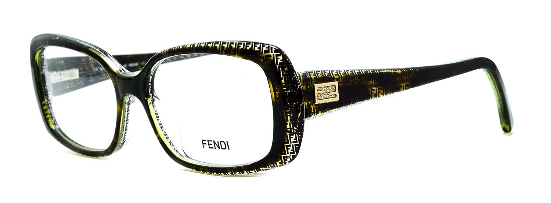 Fendi Damen Brillengestell schwarz black olive green Medium: Amazon ...