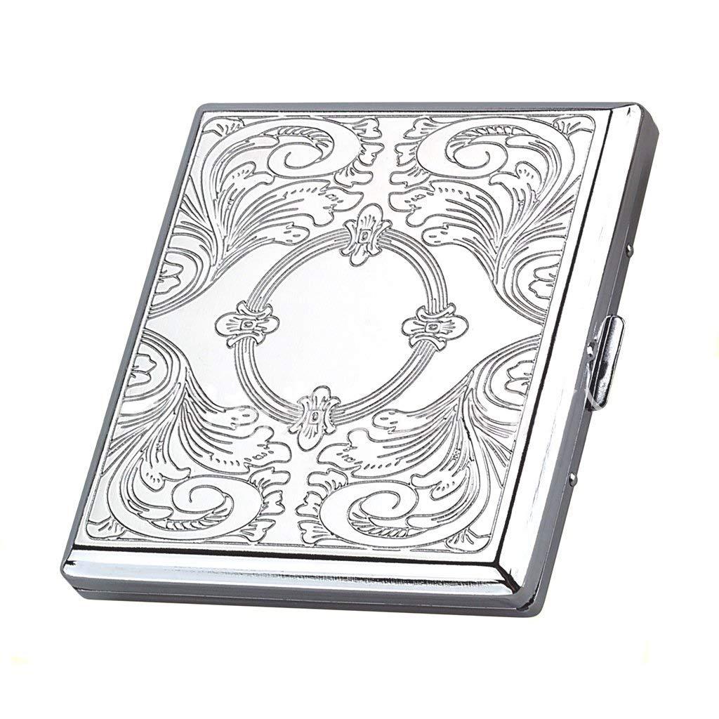 WMM Portable 20 pcs Cigarette Case for Men Stainless Steel Carved Cigarette Box Anti-Pressure Moisture-Proof