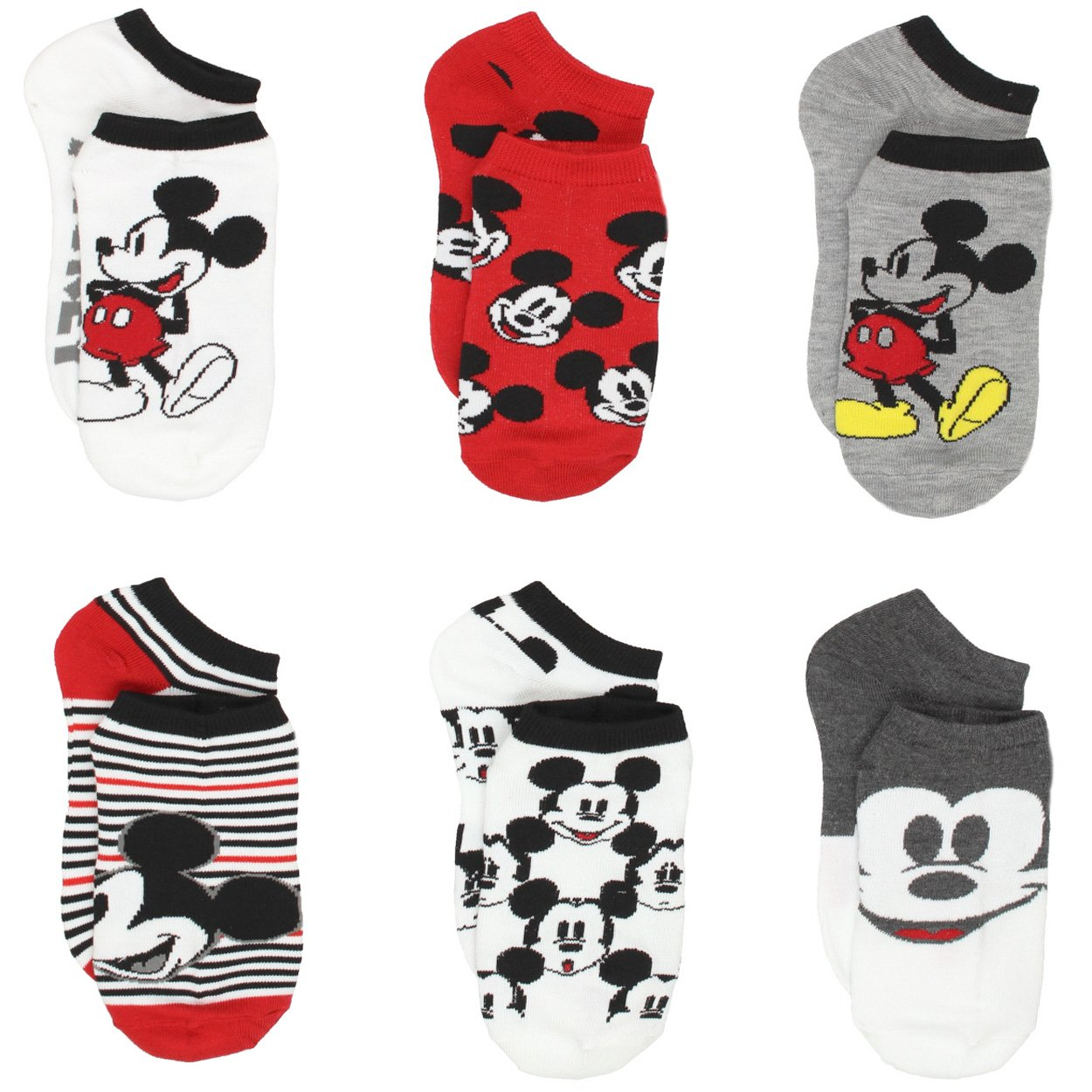 Mickey and Minnie Mouse 6 pack Socks (9-11 Womens (Shoe: 4-10), Mickey Black/White)