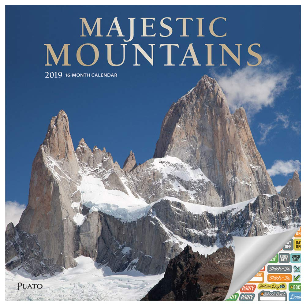 Mountains Gifts, Office Supplies Majestic Mountains Calendar 2019 Set Deluxe 2019 Mountains Wall Calendar with Over 100 Calendar Stickers