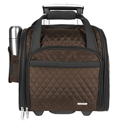 122905ff0 Travelon Wheeled Underseat Carry-On with Back-Up Bag, Quilted Microfiber,  Chocolate, One Size: Amazon.co.uk: Luggage