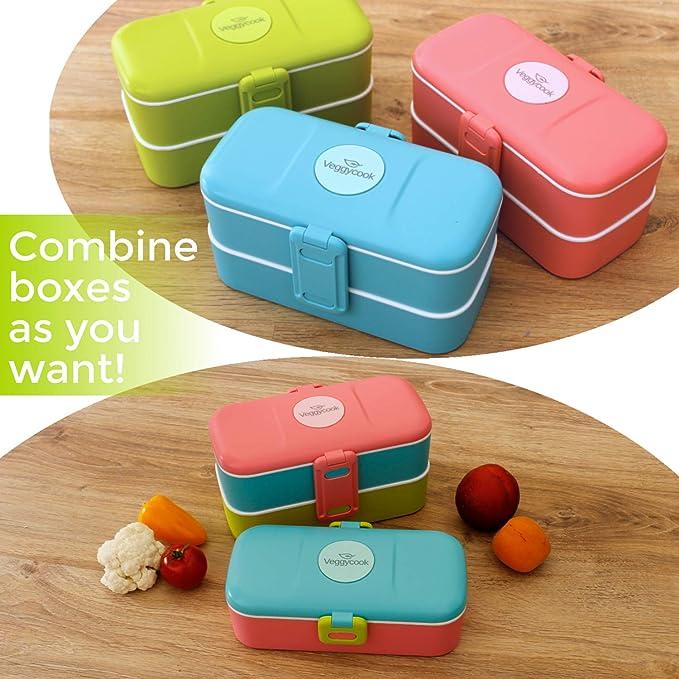 Veggycook Lunchbox Bento Edelstahl Besteck inklusive 1200ml ohne bpa f/ür Kinder und Erwachsene in der Mikrowelle und Sp/ülmaschine Blau