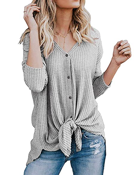 74c69d4922c Roselux Womens Henley Shirts Long Sleeve Waffle Knit Tunic Blouse Tie Knot Button  Down Loose Fitting