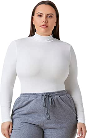 Floerns Women's Plus Size Mock Neck Long Sleeve Basic Fitted Shirt Tee Top