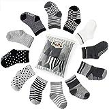 Future Founder 6 pair Non Skid Anti Slip Slipper Cotton Crew Socks With Grips For Baby Toddler Boys, (Black-grey-white)