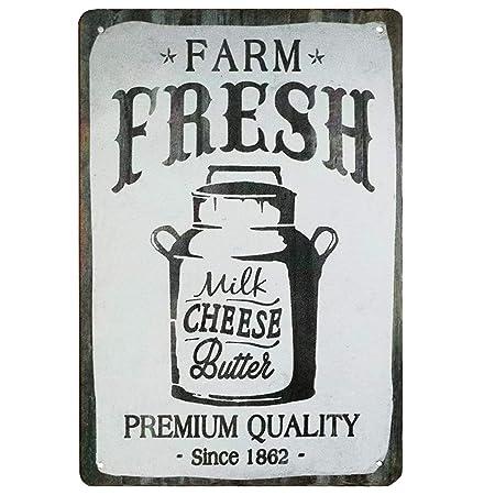 Farm Fresh Milk Póster De Pared Metal Retro Placa Cartel ...
