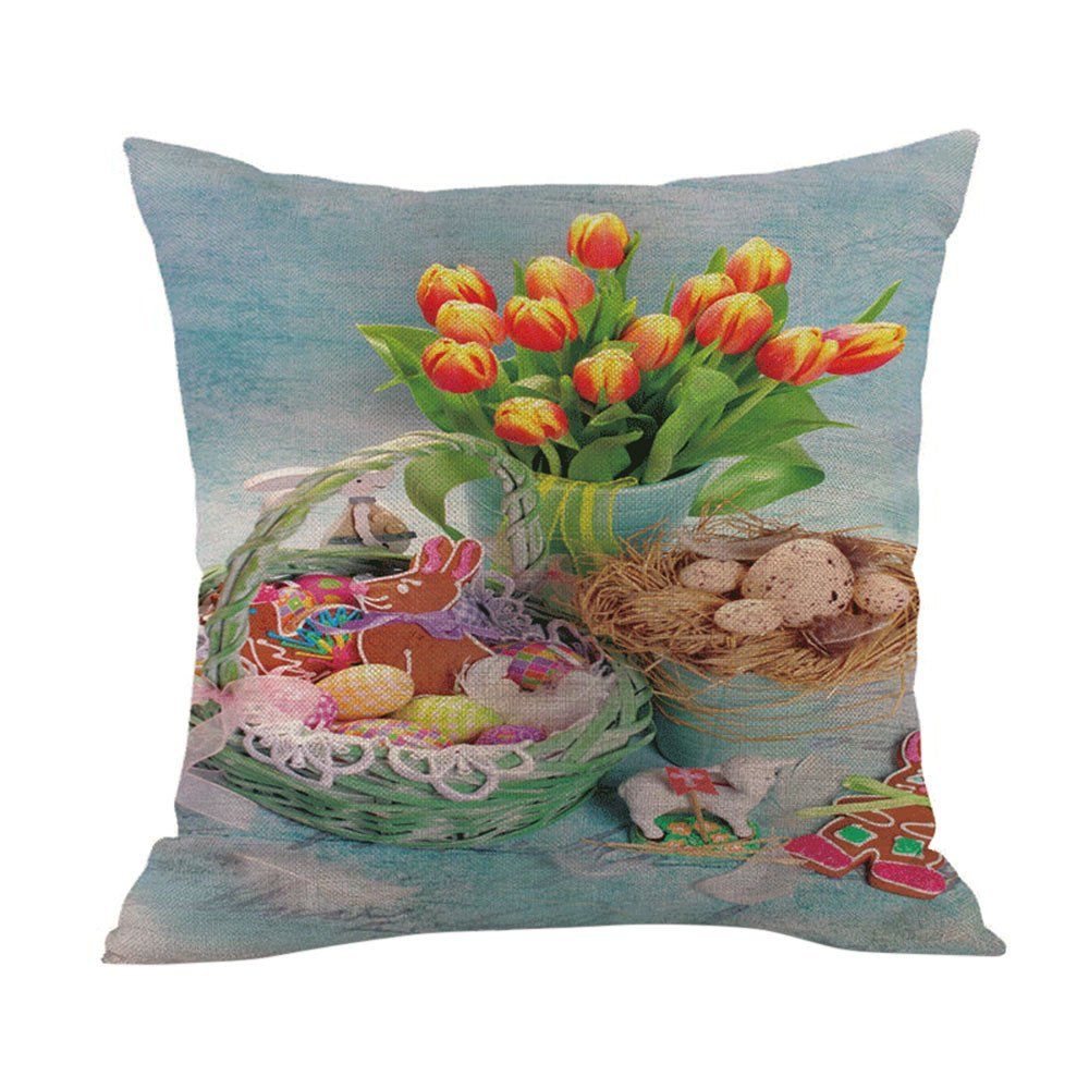 Weiliru Easter Egg Cotton Polyester Standard Size Pillowcase Pair for Bedroom, Home Decoration Set, Festival Decor and Gifts