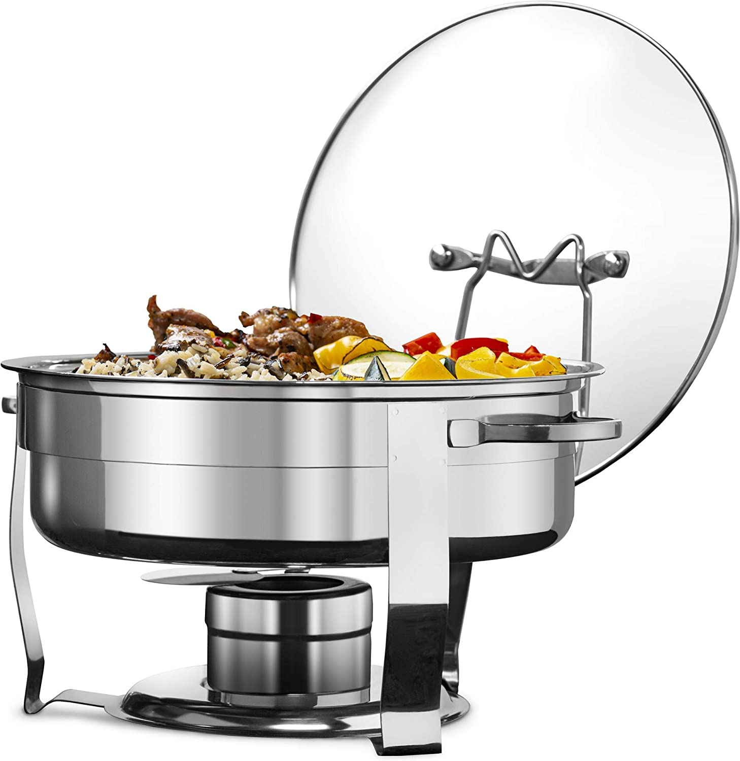 Chafing Dish, by Kook, Warmer, Stainless Steel with Glass Lid, Includes Rack