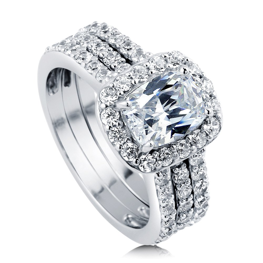 BERRICLE Rhodium Plated Sterling Silver Cubic Zirconia CZ Halo Engagement Insert Ring Set Size 5