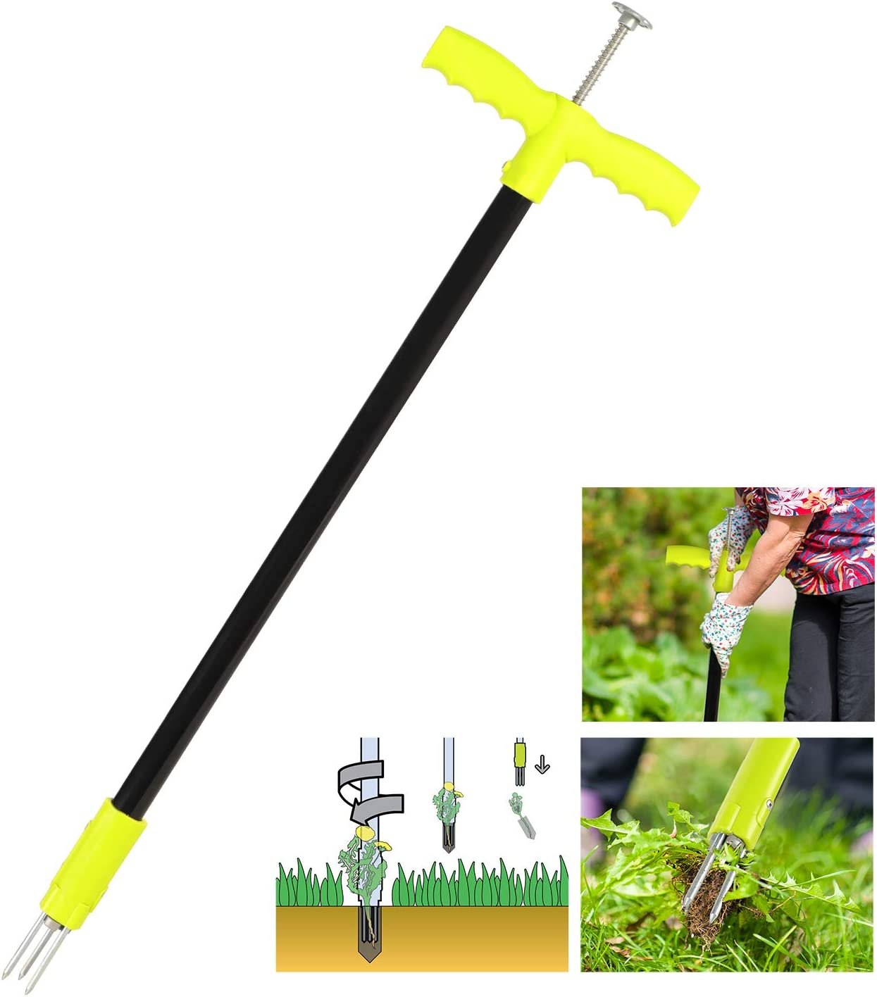 ORIENTOOLS Weed Puller Manual Weeder Twist Dandelion Puller Weed Extractor with Steel Handle and 3 Claws, Stand-up Garden Lawn Easy Root Remover Grabber Tool, 93cm, Green/Grey