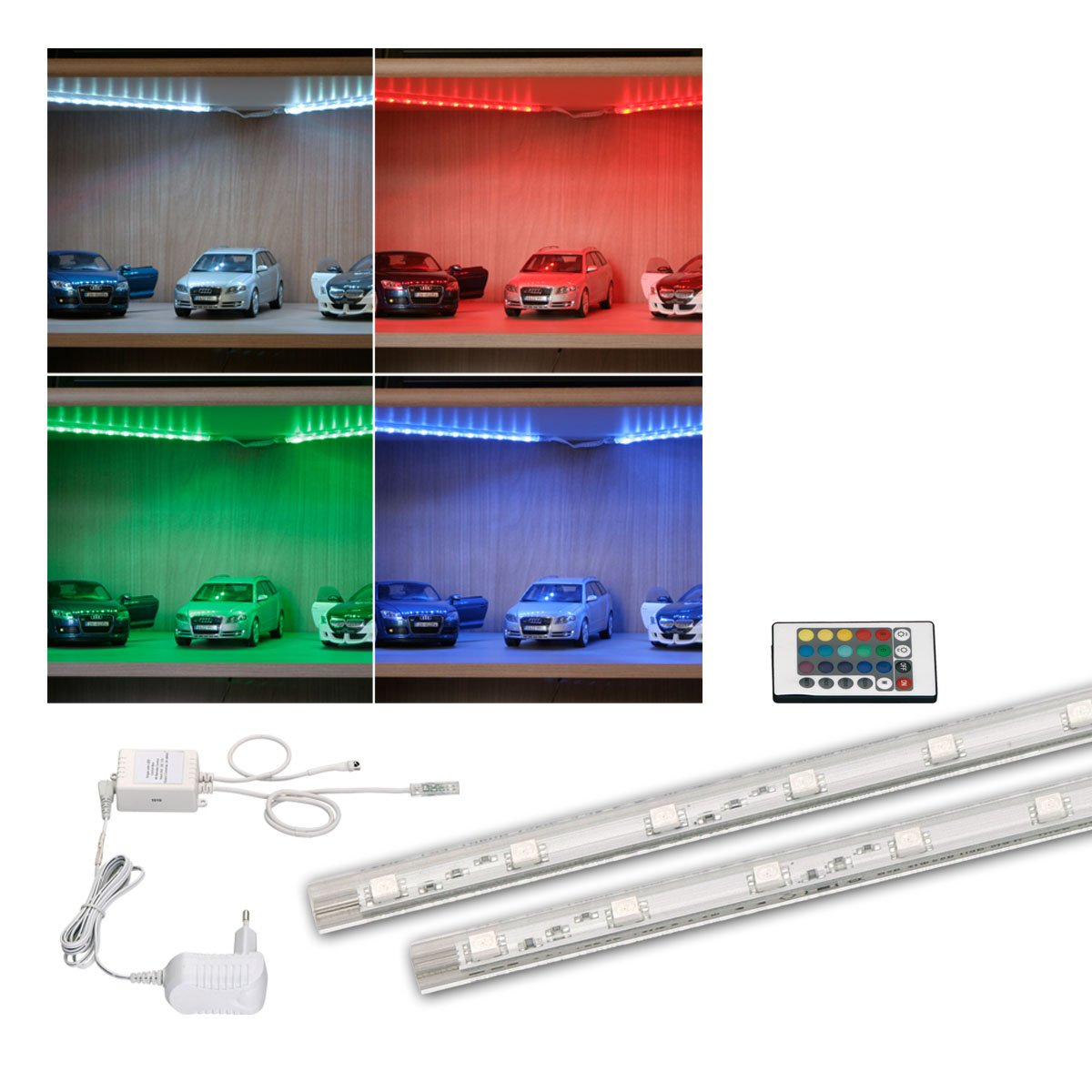 Rgb Led Strip 2 X 40 Cm With Infra Red Remote Control 2 X 6 Smd