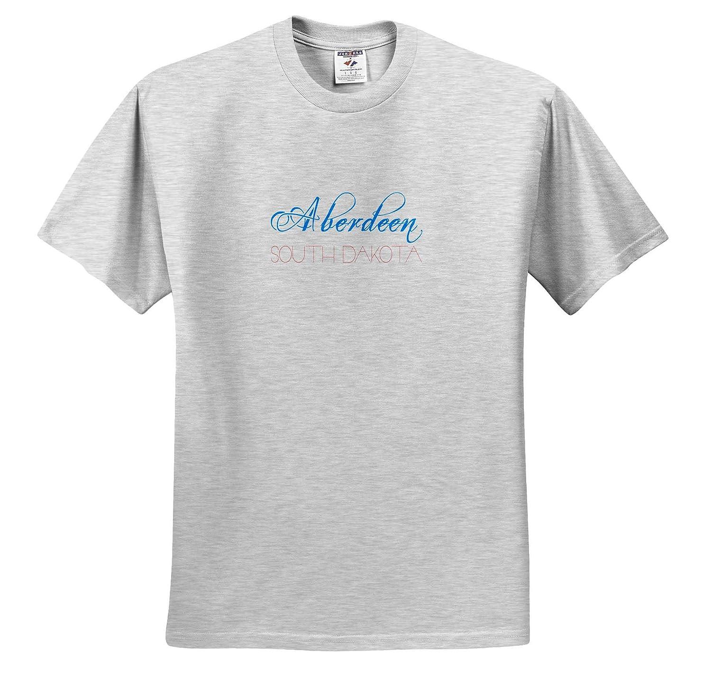 3dRose Alexis Design American Cities Decorative T-Shirts Blue Aberdeen South Dakota Patriotic red Text