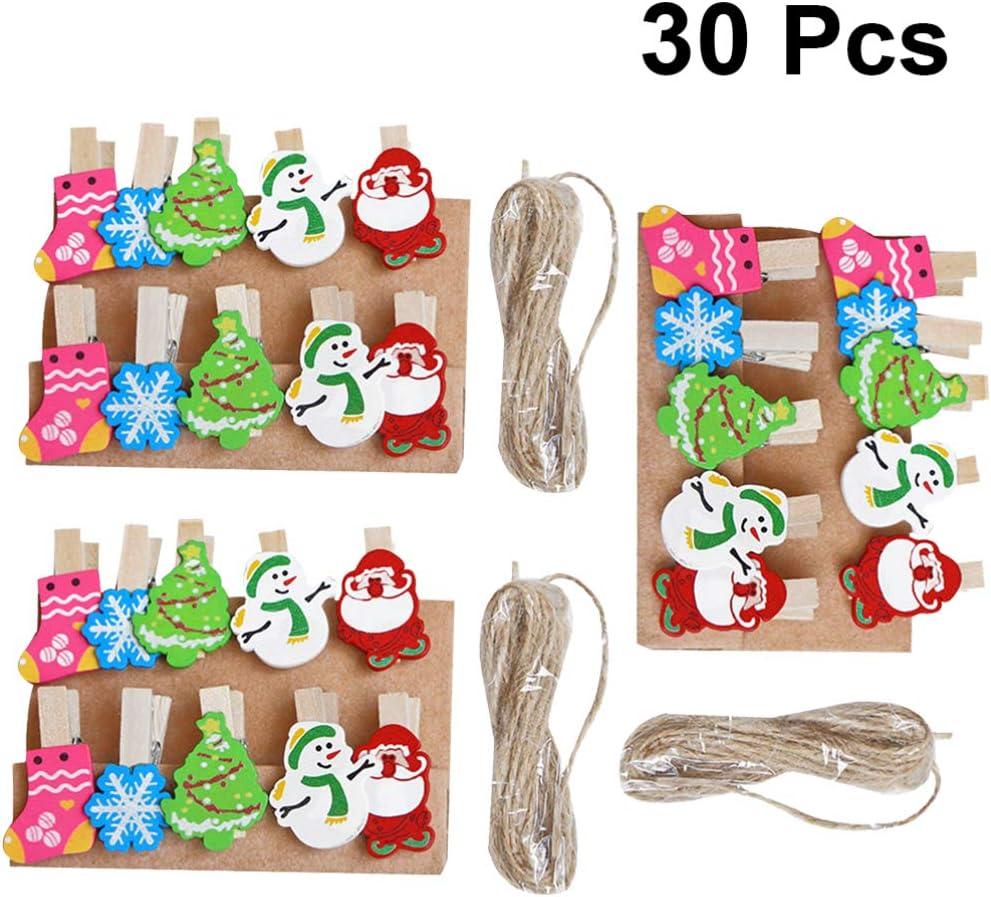 New 8 Counts Decorative Clothespins Clips Clothes Pin Craft Santa Clause Snowman