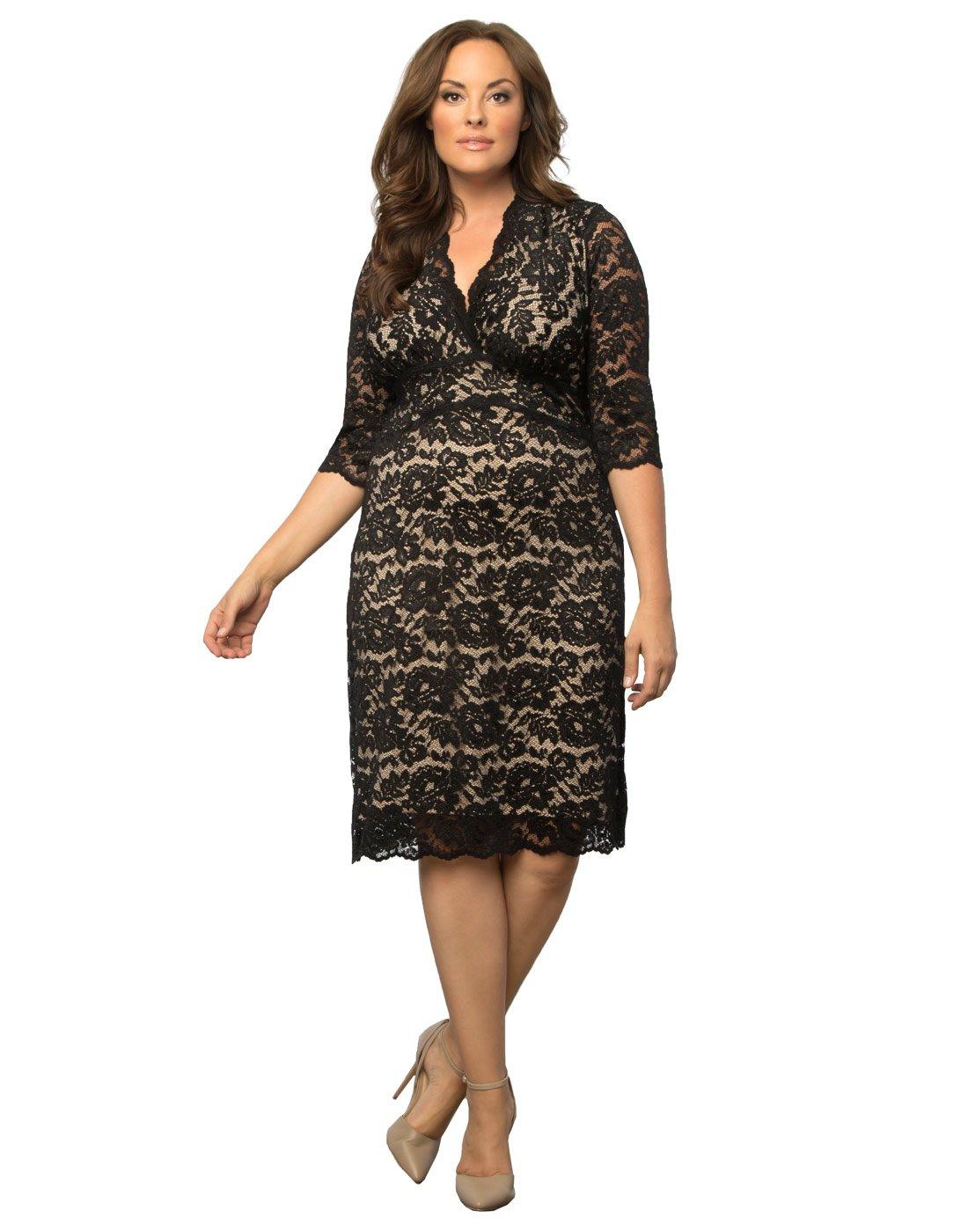 Women's Plus Size Scalloped Boudoir Lace Dress (3X, Black Lace/Nude Lining)