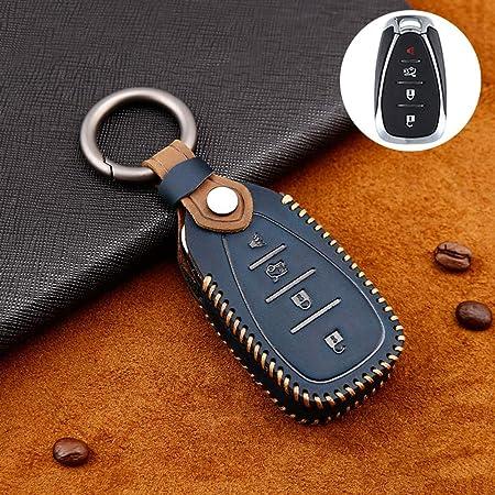 Ontto Rindsleder Autoschlüssel Hülle Cover Für Chevrolet Malibu Camaro Cruze Spark Equinox Traverse Volt Schlüsselhülle Mit Schlüsselanhänger Schlüssel Schutz Etui Für Fernbedienung 4 Tasten Blau Auto
