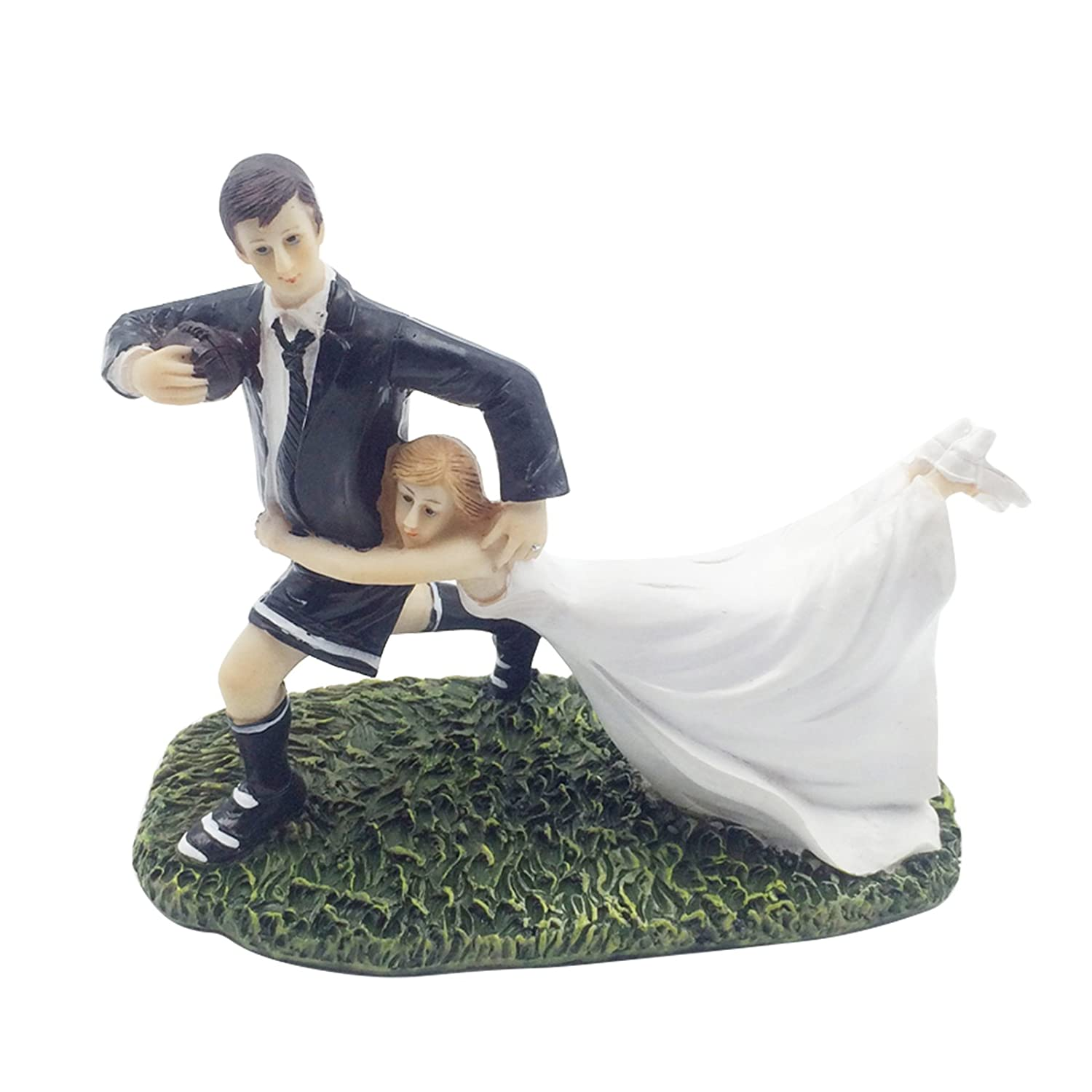 Click to buy Wedding Reception Decoration Ideas: Playful Football Wedding Couple Cake Topper from Amazon!