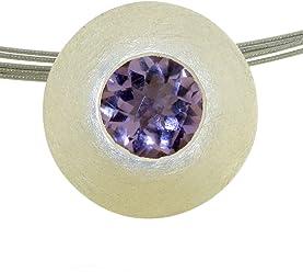 Anhänger Silber 925 Sterlingsilber mattiert mit Amethyst lila Stein 10mm im checker cut
