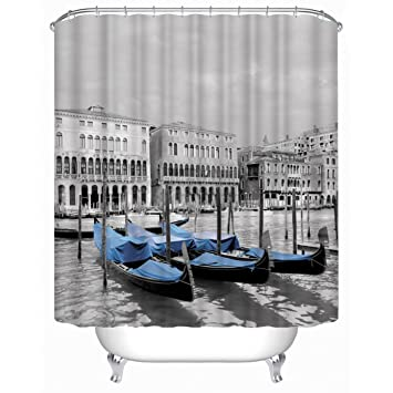 Amazon.com: Get Orange Venice Boat Antique Port Ship Shower Curtain ...
