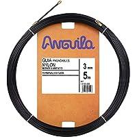 Anguila - Guía pasacables Nylon Monofilamento, 5 m, Diámetro 3mm, Terminales Fijos, Negro