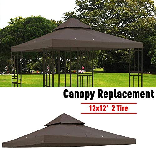 Jacoble 12 x12 Outdoor Garden Gazebo Canopy Top Replacement Brown Coffee