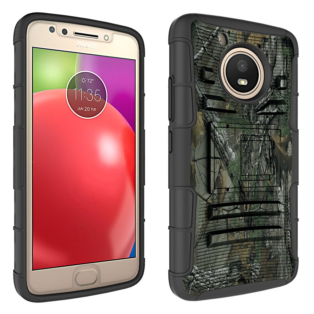 Moto E4 (4th Generation) Case, Binguowang Heavy Duty Shockproof Dual Layer Hybrid Armor Defender Full-Body Protective Case Cover with Belt Clip Holster and Kickstand For Motorola Moto E4 (Camo) by Binguowang (Image #2)