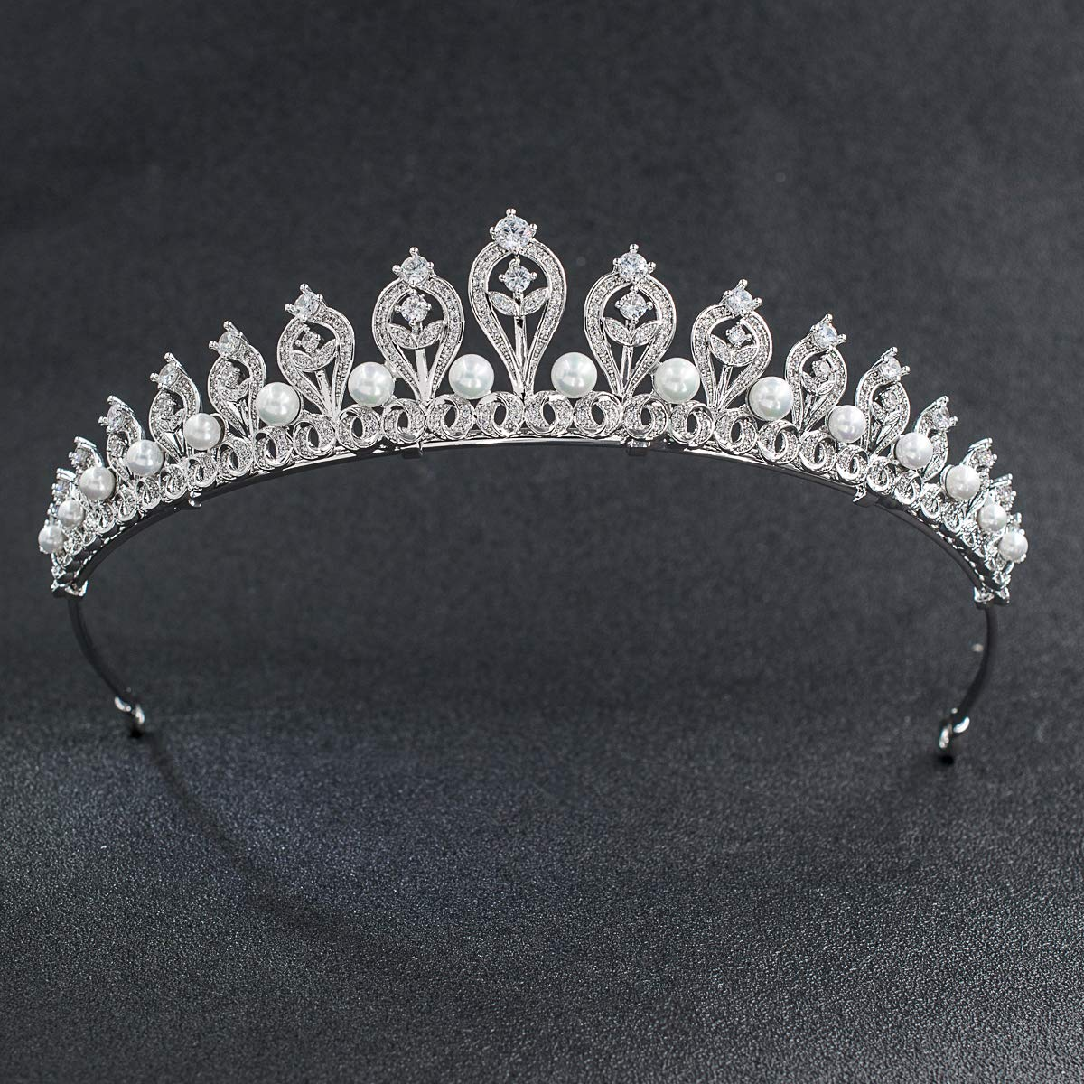 Crystals CZ Cubic Pearl Wedding Bridal Tiara Crown Women Hair Accessories Jewelry CH10109