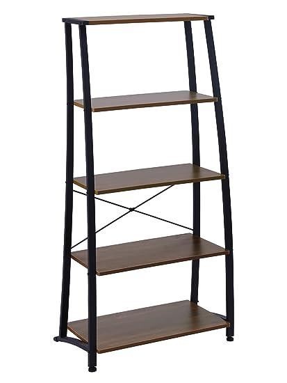 FIVEGIVEN 5 Tier Ladder Book Shelf Tall Bookshelf Modern Open Wood Espresso