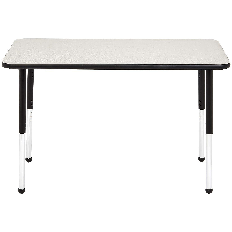 Grey//Black Adjustable Height 19-30 inch Basics 24 x 48 Rectangular School Activity Table Ball Glide Legs