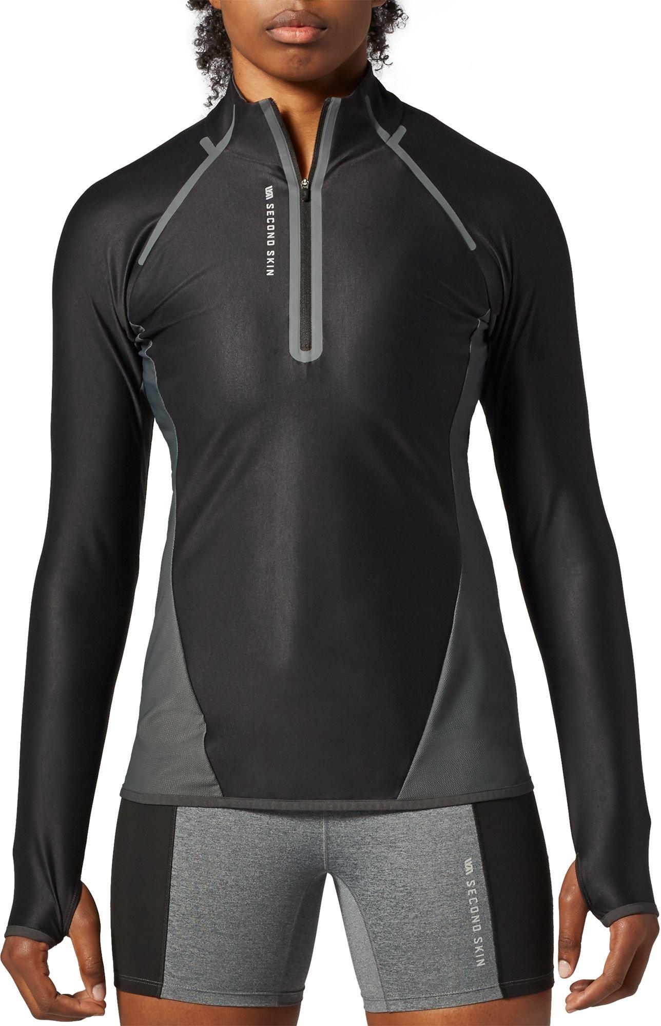 SECOND SKIN Women's 1/4 Zip Long Sleeve Training Top (Pure Black/Gravel, XS)