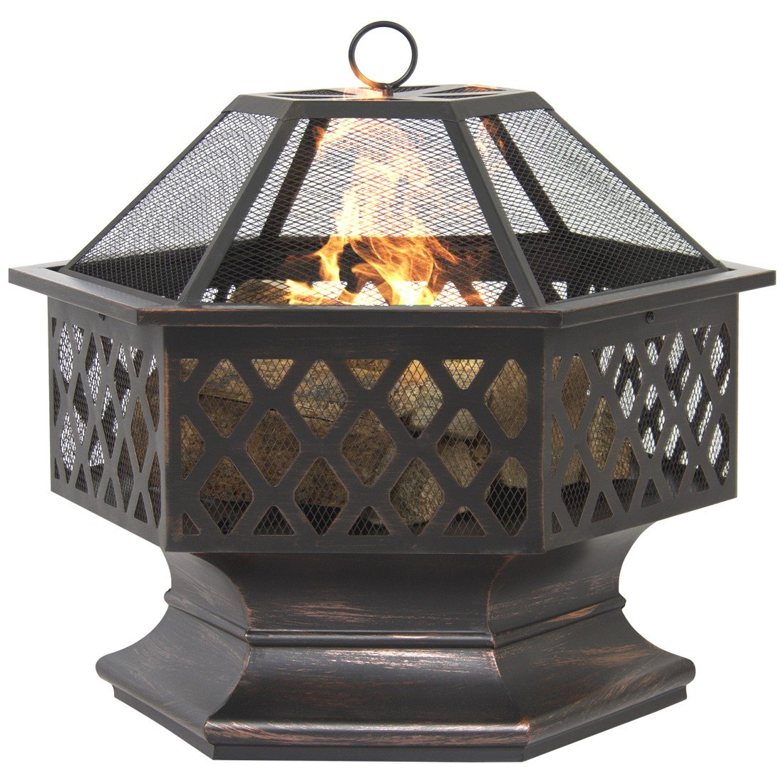 BCP Hex Shaped Fire Pit Outdoor Home Garden Backyard Firepit Bowl Fireplace by nopshop