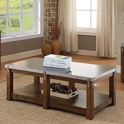 Coaster Home Furnishings 704548 Galvanized Table Top Coffee Table, NULL