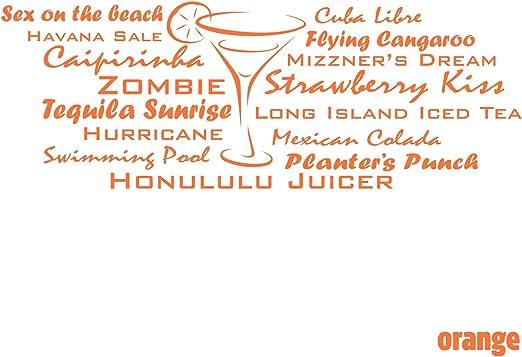 Wandtattoo Cocktails Deko Getranke Bar Partyraum Wandaufkleber Sticker Folie Orange 20 X 55 Cm Amazon De Kuche Haushalt