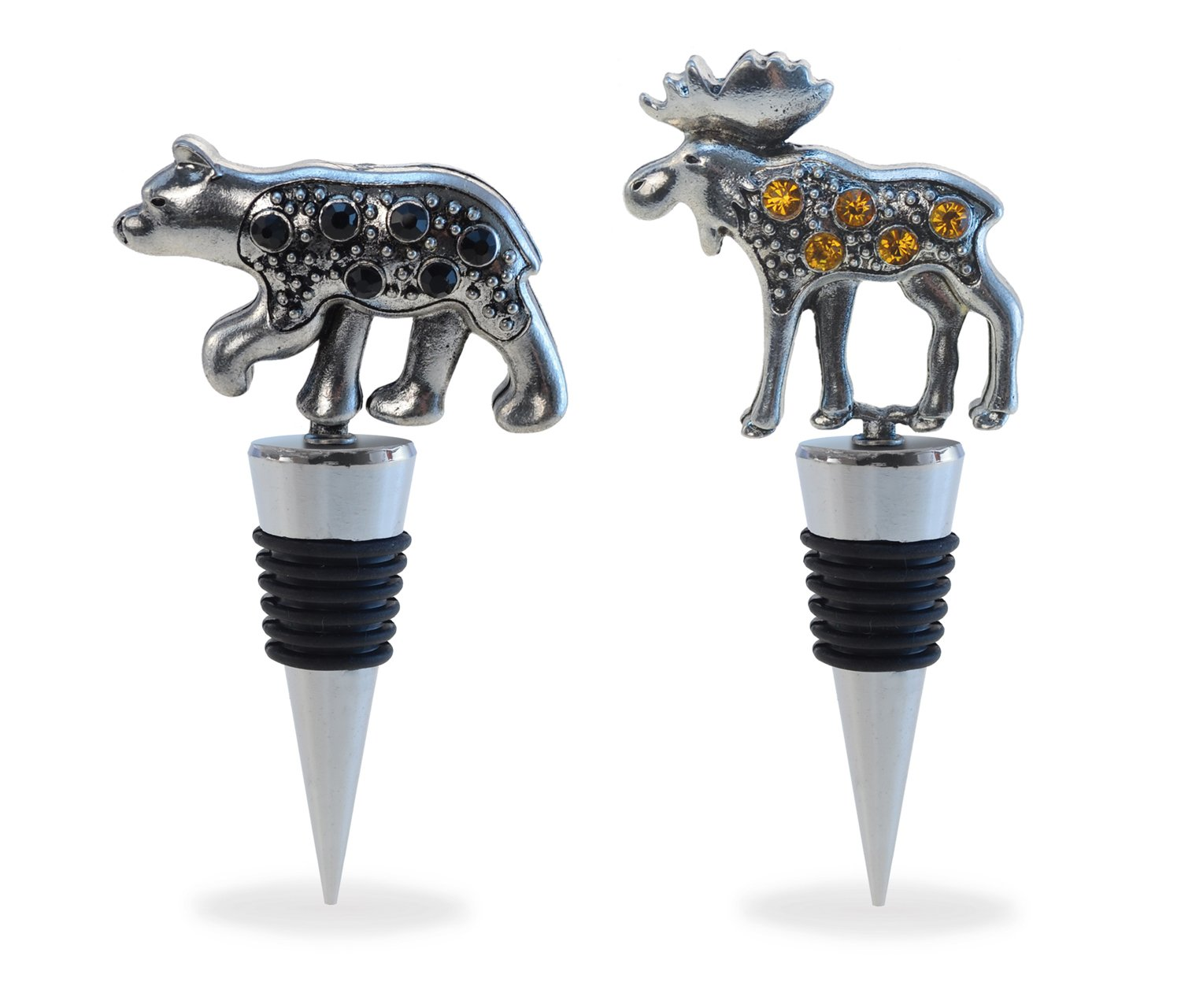 Puzzled Cheers Metal Alloy & Crystals Animal Cheers Chrome-Plated Zinc Glass Wine Stopper Silicone Stopper Black Bear & Moose Leak-Proof Beer Beverage Bottle Sealer Toppers Perfect Gift Bar Tool Set