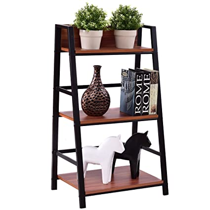 TANGKULA 3 Tier Ladder Shelf Home Office Bookshelf Plant Display Stand  Storage Shelves Multipurpose Corner