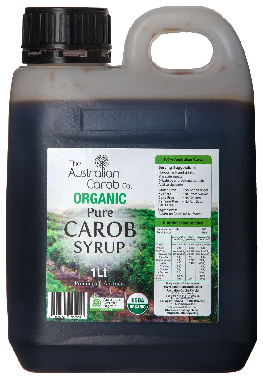 Australian, Organic, Pure, Carob Syrup, Superfood, 33.8fl.oz, Paleo, NON-GMO, World's #1 Best Tasting Pure Carob Syrup,Vegan, New Generation Carob, Carob, Carob Syrup, organic carob, Aussie SharkBars