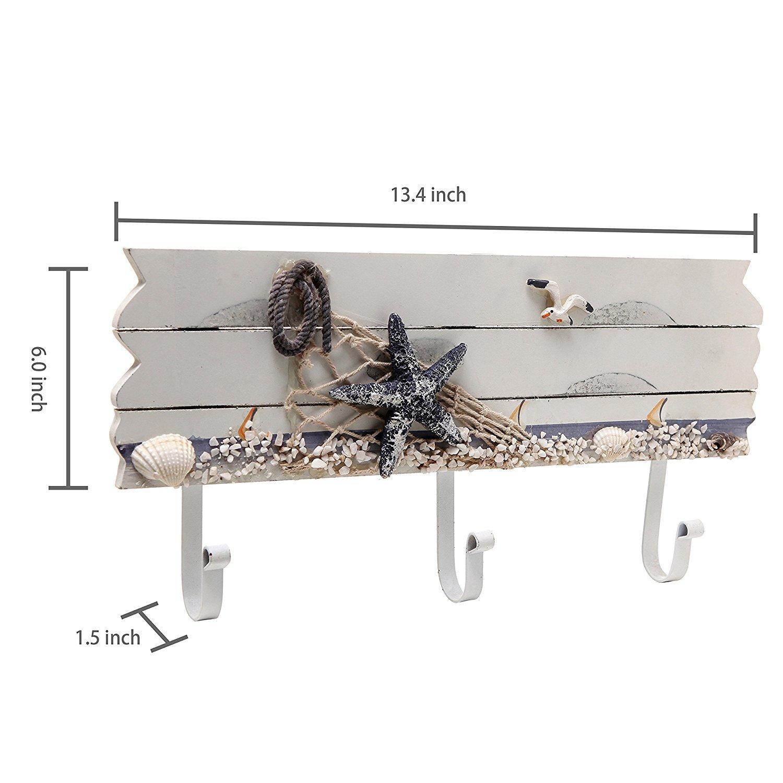 Seagull /& Seashells Wood 3 Metal Coat Hooks Wall Rack by MyGift Oceanic Coastal White Sandy Beach Style Starfish