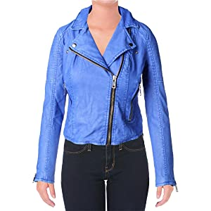 Blank NYC Womens Faux Leather Zipper Motorcycle Jacket Blue L
