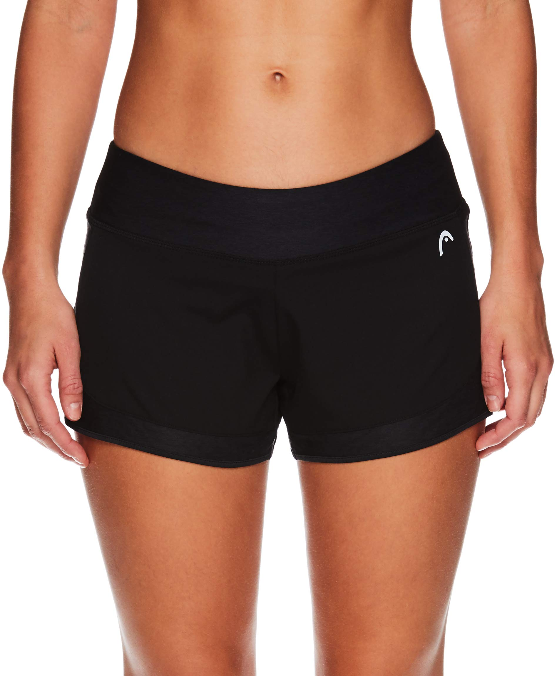HEAD Women's Athletic Workout Shorts - Tennis Gym Training & Running Short - Steadfast with Brief Black, X-Small