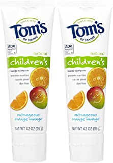 product image for Tom's of Maine Anticavity Fluoride Children's Toothpaste, Outrageous Orange-Mango - 4.2 oz - 2 pk