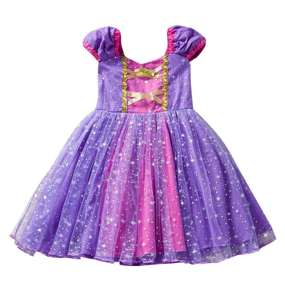 Jimmackey Neonata Cinghie Vestito, Bambine Stelle Stampa Tutu Netto Filato Abito, Principessa Seersucker Strati Dress