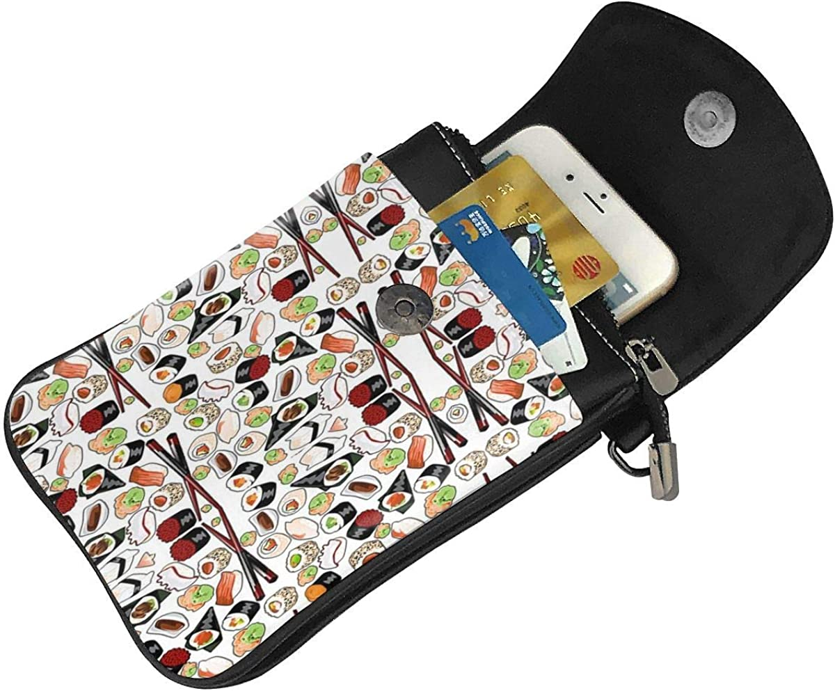 Cell Phone Purse Sushi Pattern Crossbody Bag Womens Lightweight Portable Small Wallet Waterproof PU Leather Mini Shoulder Bag Easy Care Phone Wallet For Shopping Date Hiking