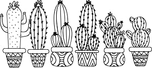 Set of 6 Vinyl Wall Art Decals - Cactus Plants - from 11