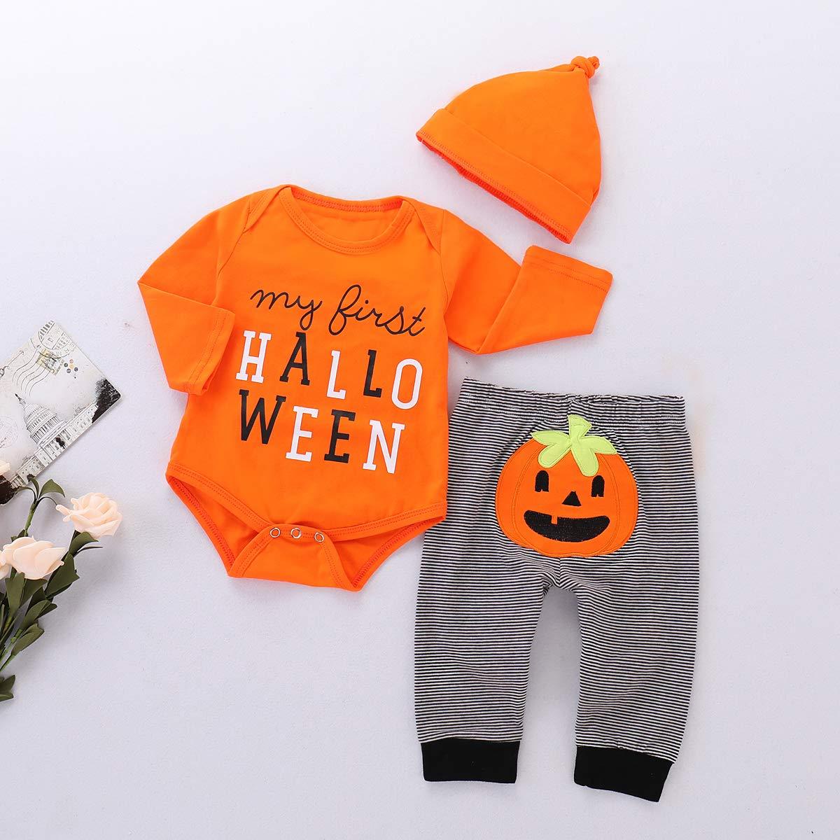 Sfuzwg Erste Halloween Baby Boy Girl Overall schwarz wei/ß gestreiften Langarm K/ürbis Grimasse Onesies Strampler