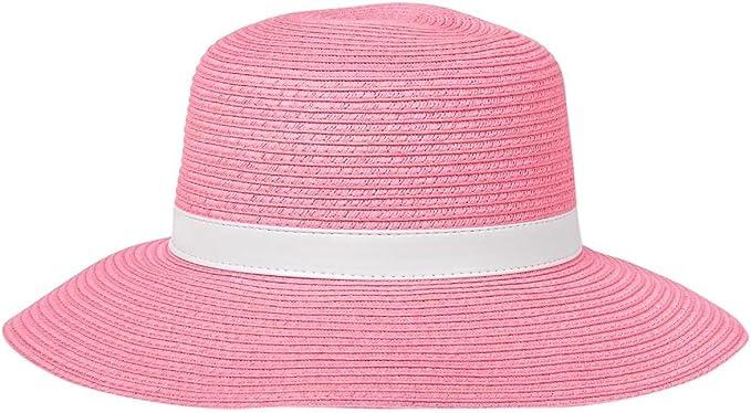 RuffleButts Little Girls Straw Fedora w//Pink Ribbon