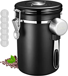 Veken Coffee Canister, Airtight Stainless Steel Food Storage Container with Date Tracker and Scoop for Grounds, Tea, Flour, Sugar, 22oz, Black